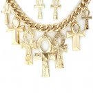 Ankh Necklace & Earrings Set Statement Cross Charms Rihanna Style Chain Tribal Gold Chunky Armor