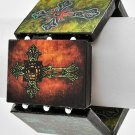 Cross Tattoo Bracelet Paper Art Decoupage Silver Beads Stretch Statement