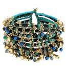 Cha Cha Bracelet Cuff Bangle Wire Wrap Blue Turquoise Gold Beads Bollywood Fusion Dance Gypsy