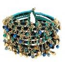 Beaded Bollywood Cha Cha Bracelet Fusion Dance Beads Turquoise Gold Black Iridescent