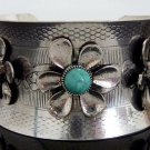 Chunky Natural Turquoise Stones Cuff Bracelet Designer Style Silver Southwestern Floral