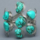 Chunky Natural Turquoise Cuff Bracelet Blue Green Stones Silver Wire Southwestern