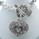 Marcasite Style Victorian Heart Bracelet Jewelry Bali Beads Charm Silver Toggle