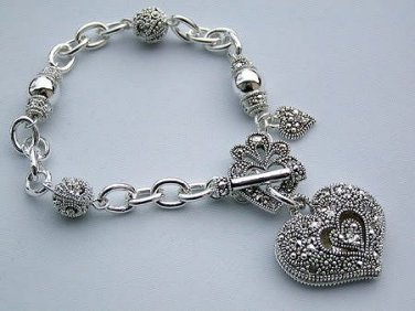 Victorian Marcasite Style Heart Bracelet Charm Silver Toggle