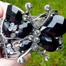 Butterfly Bracelet Cuff Bangle Crystal Black Beads Hematite Designer Victorian Style