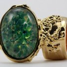 Arty Oval Ring Green Opal Vintage Glass Gold Chunky Armor Knuckle Art Statement Cage Deco Size 4.5
