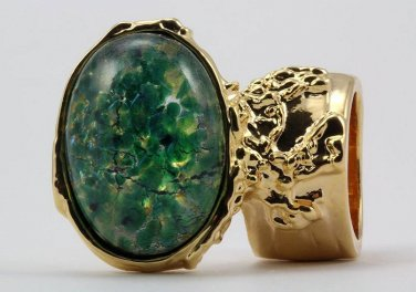 Arty Oval Ring Green Opal Vintage Glass Gold Chunky Armor Knuckle Art Statement Cage Deco Size 10