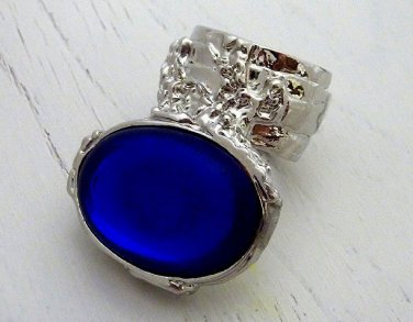 Arty Oval Ring Sapphire Vintage Glass Blue Silver Chunky Armor Knuckle Art Statement Deco Size 6