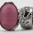 Arty Oval Ring Frosted Pink Glass Vintage Silver Armor Knuckle Art Statement Avant Garde Size 10