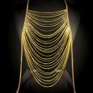 Body Chain Yellow Gold Neon Runway Draping Chains Multi Layer Avant Garde Metal Armor
