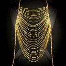 Body Chain Yellow Neon Gold Draping Metal Chains Dress Armor Avant Garde Designer Fashion Statement