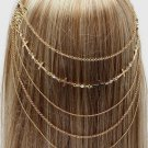 Hair Comb Head Chain Crystal Studs Cross Gold Hair Accessory Statement Avant Garde Fashion