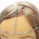 Cross Headchain Armor Chain Crystals Bohemian Indie Boho Crystal Hair Accessory Jewelry Avant Garde