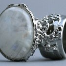 Arty Oval Ring Moonstone Gemstone Gem Silver Chunky Knuckle Art Statement Avant Garde Size 8.5