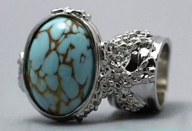 Arty Oval Ring Turquoise Vintage Glass Silver Designer Chunky Knuckle Art Statement Size 5