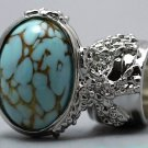 Arty Oval Ring Turquoise Vintage Glass Silver Designer Chunky Knuckle Art Statement Size 8.5