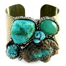 Blue Turquoise Chunky Cuff Bracelet Armor Crystals Antique Gold Hammered Statement