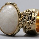 Arty Oval Ring White Specks Chunky Gold Armor Vintage Knuckle Art Statement Avant Garde Size 4.5