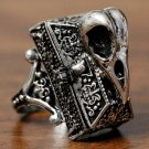 Raven Casket Locket Ring Antique Style Silver Alchemy Bird Skull Goth Gothic Decorated Chest Size 7