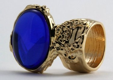 Arty Oval Ring Sapphire Blue Vintage Glass Gold Chunky Armor Knuckle Art Statement Deco Size 4.5