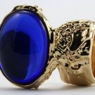 Arty Oval Ring Sapphire Blue Vintage Glass Gold Chunky Armor Knuckle Art Statement Deco Size 8