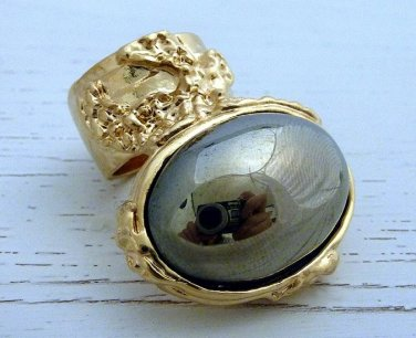 Arty Oval Ring Hematite Mirror Vintage Gold Chunky Armor Knuckle Art Statement Avant Garde Size 5.5