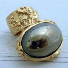 Arty Oval Ring Hematite Mirror Vintage Gold Chunky Armor Knuckle Art Statement Avant Garde Size 10