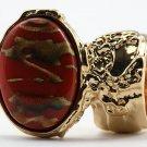 Arty Oval Ring Carnelian Terra Cotta Orange Gold Chunky Armor Knuckle Art Statement Deco Size 5.5
