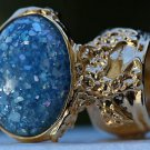 Arty Oval Ring Blue Glitter Opal Vintage Designer Gold Chunky Armor Knuckle Art Statement Size 4.5