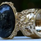 Arty Oval Ring Black Brown Marble Gold Chunky Armor Vintage Knuckle Art Fashion Statement Size 8