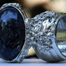 Arty Oval Ring Black Brown Marble Silver Chunky Armor Vintage Knuckle Art Fashion Statement Size 8