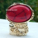 Arty Oval Ring Red Black Gold Knuckle Art Chunky Artsy Armor Avant Garde Statement Size 5.5