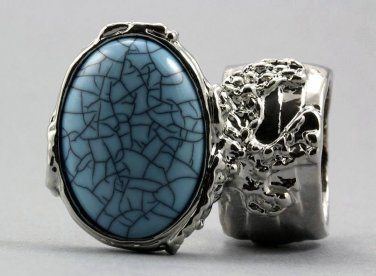 Arty Oval Ring Turquoise Blue Silver Chunky Armor Knuckle Art Avant Garde Fashion Statement Size 6