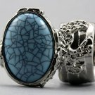 Arty Oval Ring Turquoise Blue Silver Chunky Armor Knuckle Art Avant Garde Fashion Statement Size 8.5