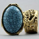 Arty Oval Ring Turquoise Blue Gold Chunky Armor Knuckle Art Avant Garde Fashion Statement Size 4.5