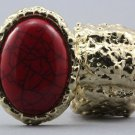 Arty Oval Ring Red Gold Chunky Armor Knuckle Art Statement Avant Garde Stretch Size 7 - 8.5