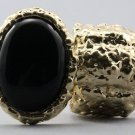 Arty Oval Ring Black Gold Chunky Armor Knuckle Art Statement Stretch Size 7 - 8.5