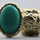 Arty Oval Ring Teal Gold Chunky Armor Knuckle Art Statement Stretch Size 7 - 8.5
