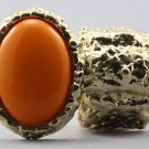 Arty Oval Ring Orange Gold Chunky Armor Knuckle Art Statement Avant Garde Stretch Size 7 - 8.5