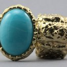 Arty Oval Ring Blue Swirl Gold Chunky Knuckle Art Statement Avant Garde Stretch Size 7 - 8.5