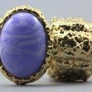 Arty Oval Ring Purple Swirl Gold Chunky Knuckle Art Statement Avant Garde Stretch Size Size 7 - 8.5