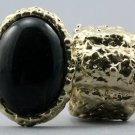 Arty Oval Ring Black Gold Flecks Chunky Knuckle Art Statement Avant Garde Stretch Size 7 - 8.5