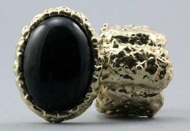 Arty Oval Ring Black Gold Flecks Chunky Knuckle Art Statement Avant Garde Stretch Size 7 - 8.5