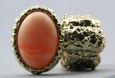 Arty Oval Ring Peach Swirl Gold Chunky Knuckle Art Statement Avant Garde Stretch Size 7 - 8.5