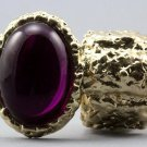 Arty Oval Ring Fuchsia Gold Chunky Armor Knuckle Art Statement Stretch Size 7 - 8.5
