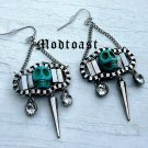 Day of the Dead Skull Spike Earrings Dia de Los Muertos Antique Silver Chain Carved Turquoise Stone