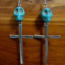 Day of the Dead Skull & Cross Earrings Turquoise Carved Stone Silver Dia de Los Muertos Statement