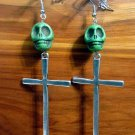 Day of the Dead Skull & Cross Earrings Green Carved Stone Silver Dia de Los Muertos Statement
