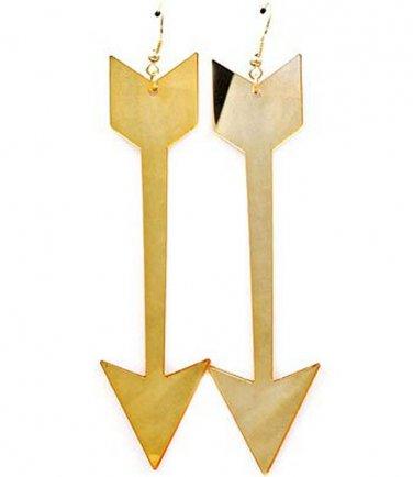 Huge Mirrored Arrow Earrings 4.5 Inch Drop Designer Style Statement Urban Glam Gold Mirror