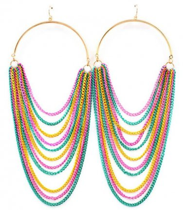 """Hoop Draping Chains Earrings 6"""" Drop Statement Multi Celebrity Designer Basketball Wives Style"""